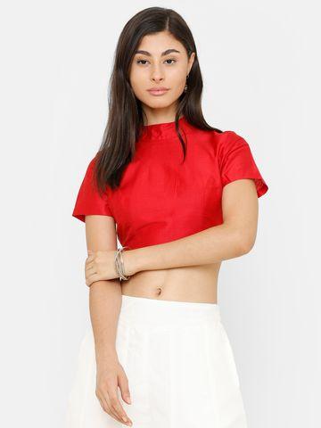 De Moza | De Moza Ladies Crop Top Solid Polyester Red
