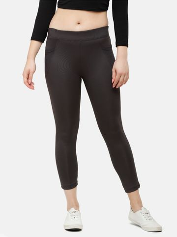 De Moza | De Moza Ladies Ankle Length Leggings Solid Polyester Dark Grey