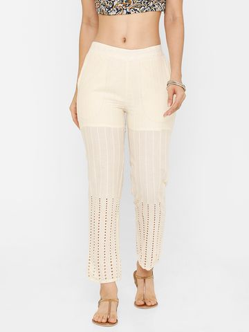 De Moza | De Moza Women's Straight Pant Woven Bottom Solid Cotton Natural