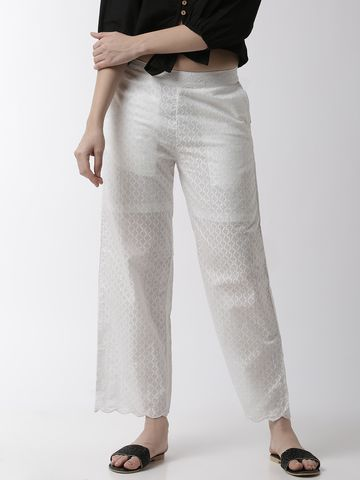 De Moza | De Moza Ladies Palazzo Woven Bottom Embrodry Cotton White