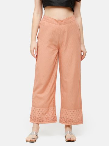 De Moza | De Moza Ladies Palazzo Woven Bottom Embrodry Cotton Duskey Pink