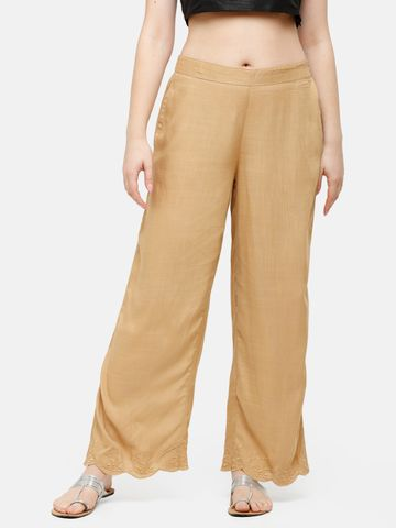 De Moza | De Moza Ladies Palazzo Woven Bottom Embrodry Rayon Golden Beige