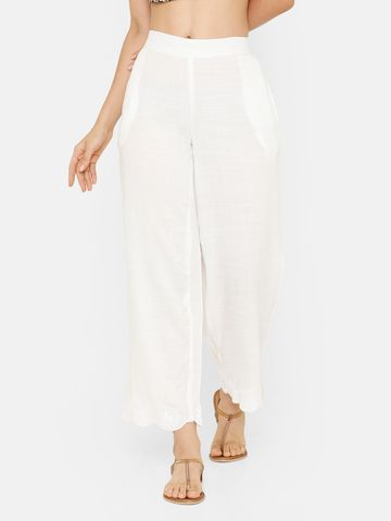 De Moza | De Moza Ladies Palazzo Woven Bottom Embrodry Rayon Offwhite