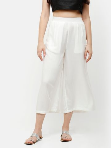 De Moza | De Moza Ladies Crop Palazzo Woven Bottom Solid Rayon Offwhite