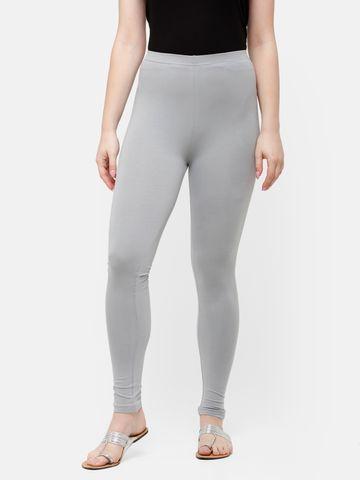 De Moza   De Moza Women's Ankle Length Leggings Solid Cotton Light Grey