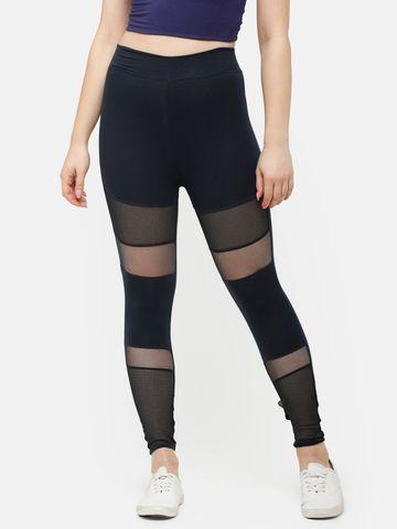 De Moza   De Moza Women's Ankle Length Leggings Cut & Sew Cotton Dark Navy Blue