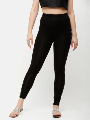 De Moza   De Moza Women's Ankle Length Leggings Printed Viscose Black