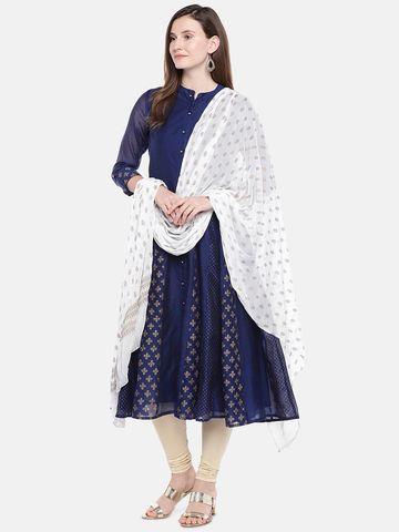 Ethnicity | Ethnicity White Silk Women Dupatta