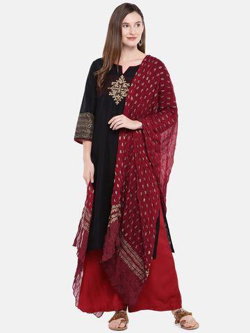 Ethnicity | Ethnicity Maroon Silk Women Dupatta
