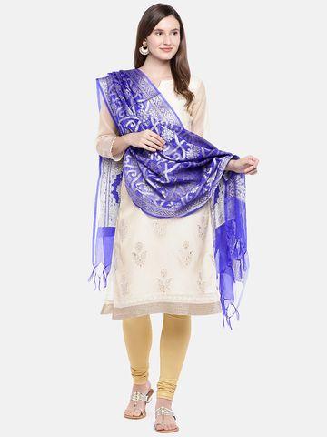 Ethnicity | Ethnicity Royal Blue Silk Women Banaras Dupatta