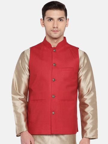 Ethnicity | Ethnicity Sleeveless Polyester Blend Red Men Jackets