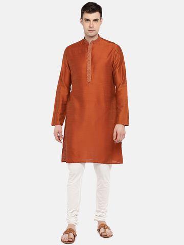 Ethnicity   Ethnicity Rust Polyester Blend Men Kurta