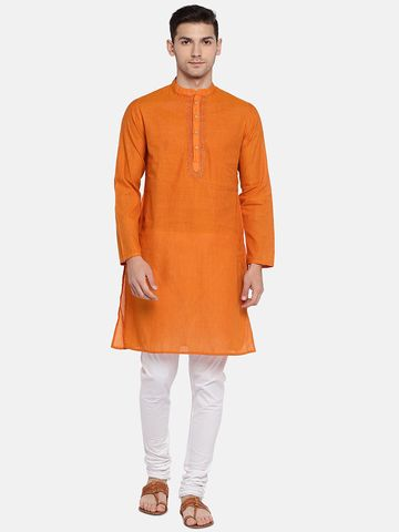 Ethnicity | Ethnicity Orange Cotton Men Kurta