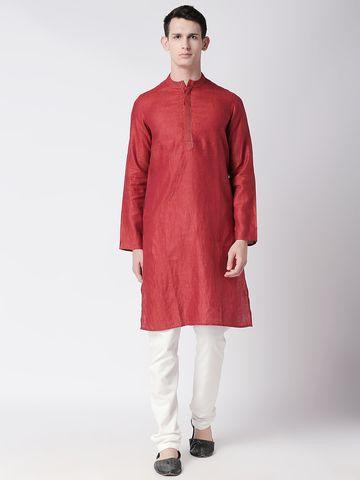 Ethnicity | Ethnicity Rust Linen Men Kurta