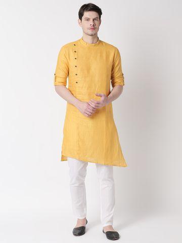 Ethnicity | Ethnicity Yellow Linen Men Kurta
