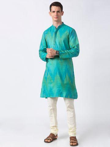 Ethnicity | Ethnicity Teal Viscose Silk Men Kurta