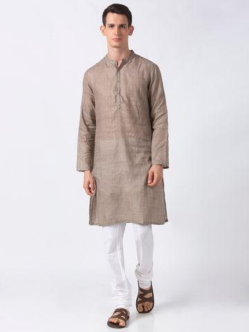 Ethnicity | Ethnicity Grey Polyester Blend Men Kurta