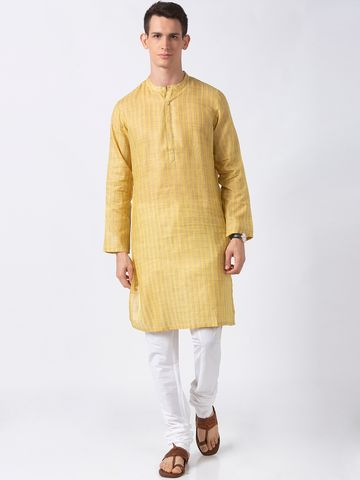 Ethnicity | Ethnicity Yellow Polyester Blend Men Kurta