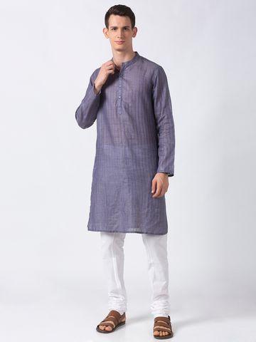 Ethnicity | Ethnicity Purple Polyester Blend Men Kurta