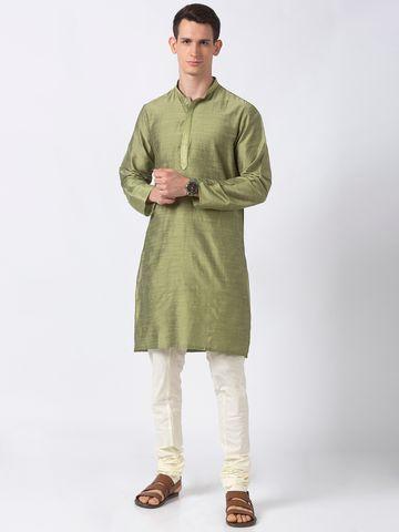 Ethnicity | Ethnicity Green Polystaple  Men Kurta