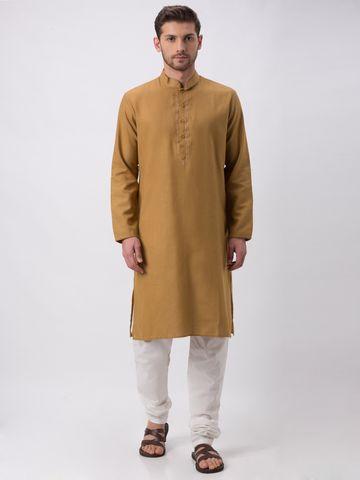 Ethnicity | Ethnicity Khakhi Polyester Blend Kp Set
