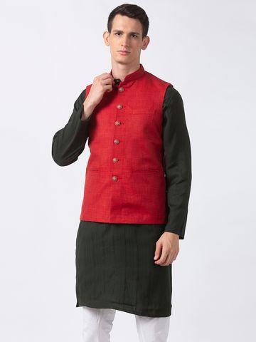 Ethnicity | Ethnicity Polyester Blend Straight Sleeveless Men Maroon Jackets
