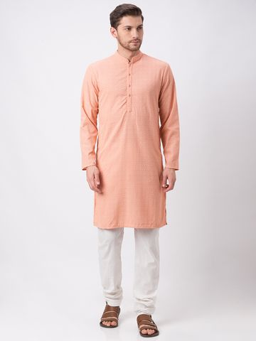 Ethnicity | Ethnicity Polyester Cotton Straight Full Sleeve Men Peach Kp Set