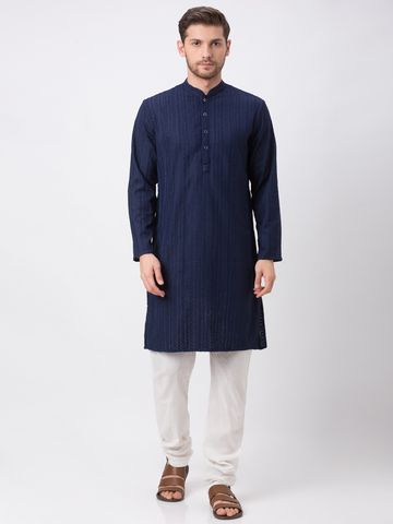 Ethnicity | Ethnicity Polyester Cotton Straight Full Sleeve Men Navy Kp Set