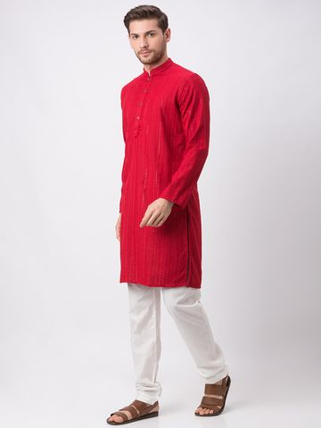 Ethnicity | Ethnicity Polyester Cotton Straight Full Sleeve Men Maroon Kp Set