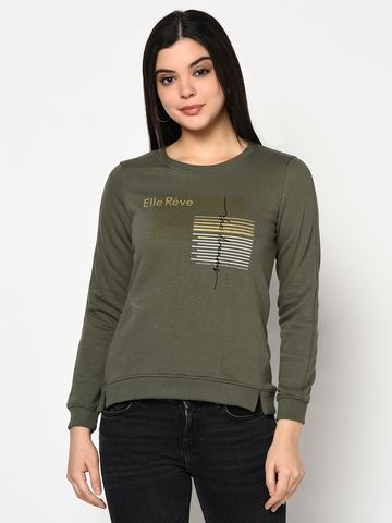 METTLE   Women OLIVE Sweatshirts