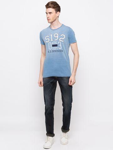 Spykar   spykar Light Indigo Printed Slim Fit T-Shirt