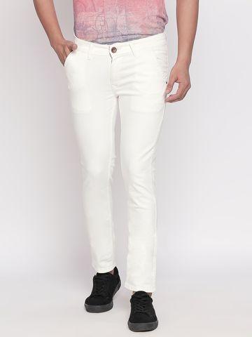 spykar | Spykar Ecru Solid Skinny Fit Jeans
