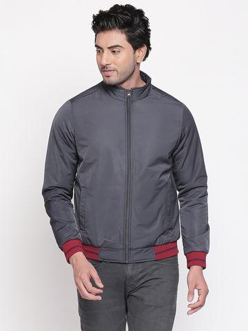 spykar | Spykar Grey Solid Regular Fit Bomber Jackets
