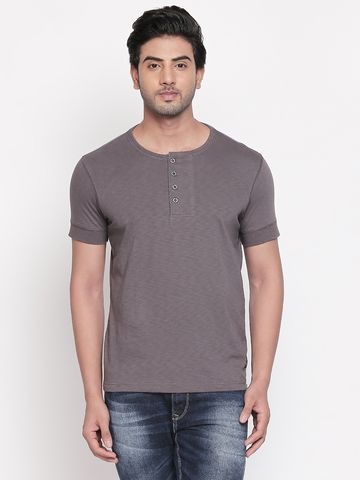 spykar | Spykar Grey Solid Slim Fit T-Shirts