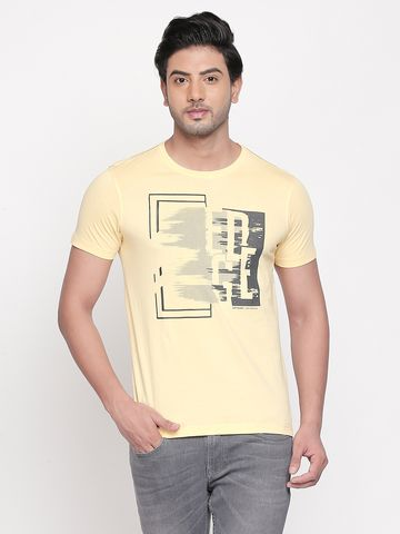 spykar | spykar Yellow Cotton T-Shirts