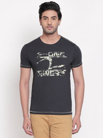 spykar | Spykar Charcoal Printed Slim Fit T-Shirts