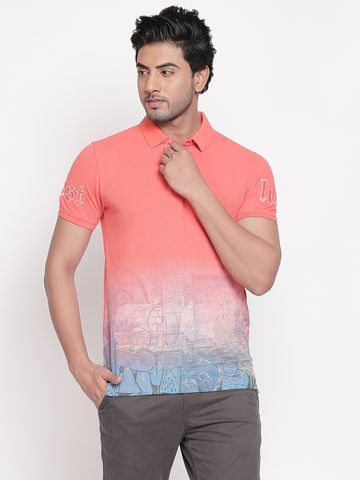 spykar | Spykar Coral Colourblock Slim Fit Polo T-Shirt