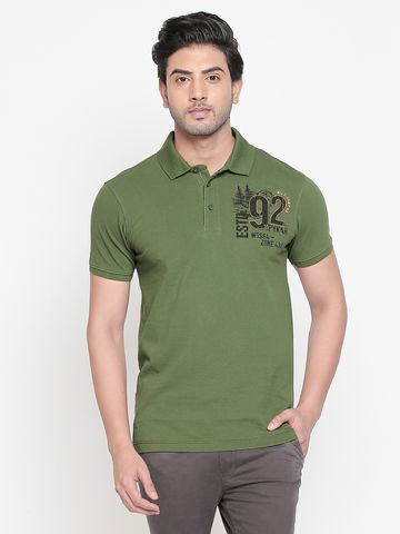 spykar | spykar Green Cotton T-Shirts