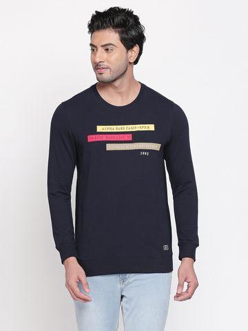 spykar   Spykar Navy Printed Slim Fit T-Shirts