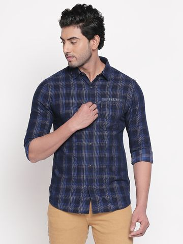 spykar | Spykar Navy Checked Slim Fit Casual Shirts