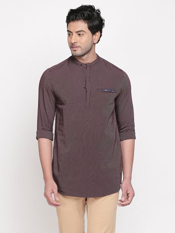 spykar | spykar Maroon Striped Slim Fit Casual Shirt