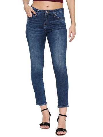 Spykar | Spykar Blue Cotton Mid Rise Skinny Ankle Length Fit Jeans (Adora)