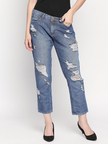 Spykar | Spykar Mid Blue Ripped High Rise Jeans