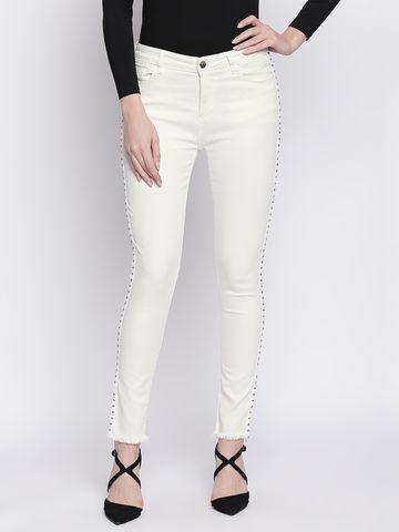 Spykar | SPYKAR White Cotton Slim Fit JEANS