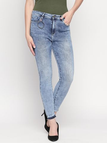 Spykar   Spykar Mid Blue Solid Skinny Fit Jeans