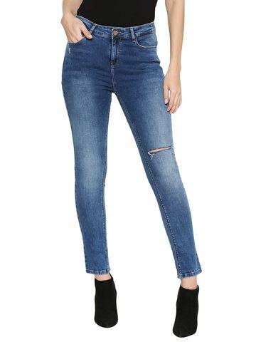 Spykar | Spykar Blue Cotton Low Rise Skinny Fit Jeans (Slim)
