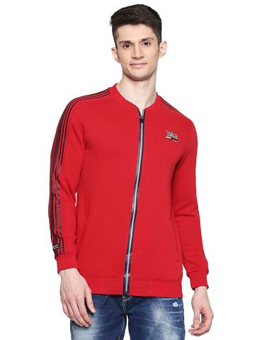 spykar | Spykar Cotton Blend Red Sweatshirts
