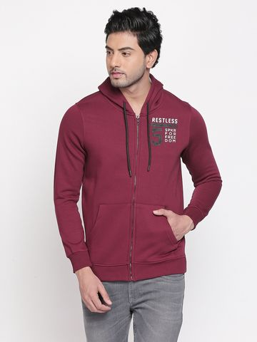 spykar | Spykar Wine Solid Slim Fit Sweatshirts