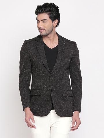 spykar | Spykar Black Melange Straight Fit Blazers