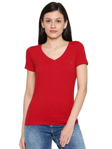 spykar   Spykar Cotton Red T-Shirts